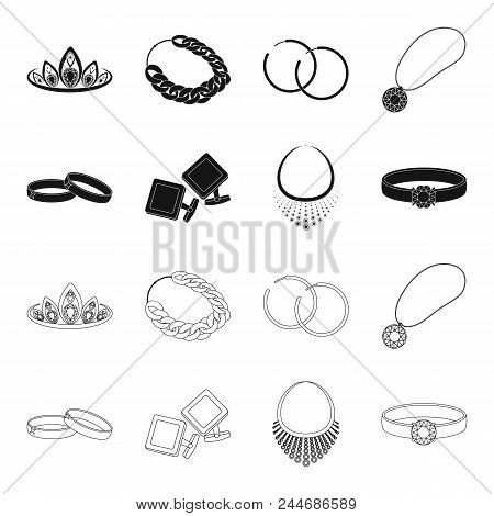Wedding Rings, Cuff Links, Diamond Necklace, Women's Ring With A Stone. Jewelery And Accessories Set