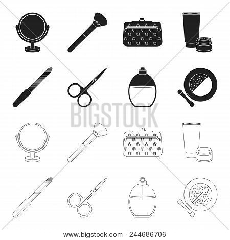 Nail File, Scissors For Nails, Perfume, Powder With A Brush.makeup Set Collection Icons In Black, Ou