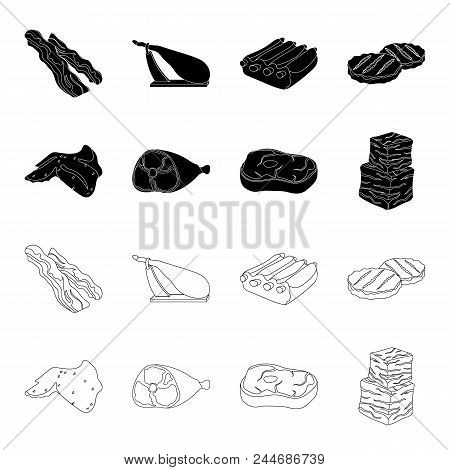 Chicken Wings, Ham, Raw Steak, Beef Cubes. Meat Set Collection Icons In Black, Outline Style Vector