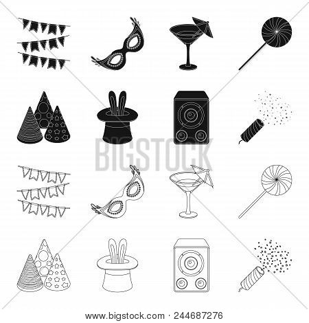 Tricks, Music And Other Accessories At The Party.party And Partits Set Collection Icons In Black, Ou