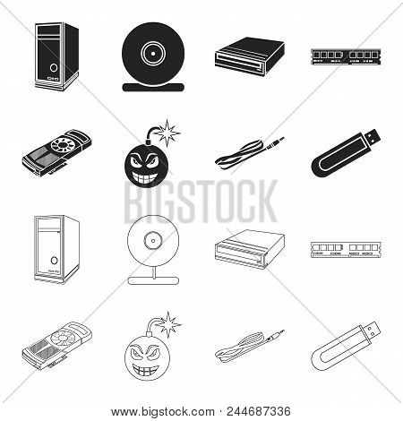 Video Card, Virus, Flash Drive, Cable. Personal Computer Set Collection Icons In Black, Outline Styl