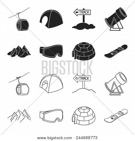 Mountains, Goggles, An Igloo, A Snowboard. Ski Resort Set Collection Icons In Black, Outline Style V