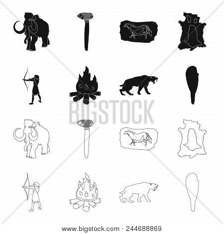Man, Hunter, Onion, Bonfire .stone Age Set Collection Icons In Black, Outline Style Vector Symbol St
