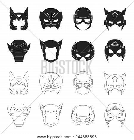 Helmet, Mask On The Head.mask Super Hero Set Collection Icons In Black, Outline Style Vector Symbol