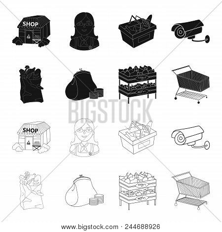 Sausages, Fruit, Cart .supermarket Set Collection Icons In Black, Outline Style Vector Symbol Stock