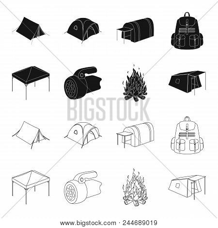 Awning, Fire And Other Tourist Equipment.tent Set Collection Icons In Black, Outline Style Vector Sy