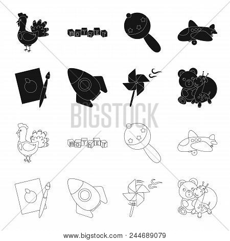 Children's Toy Black,outline Icons In Set Collection For Design. Game And Bauble Vector Symbol Stock