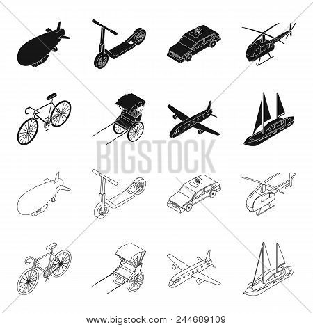 Bicycle, Rickshaw, Plane, Yacht.transport Set Collection Icons In Black, Outline Style Vector Symbol