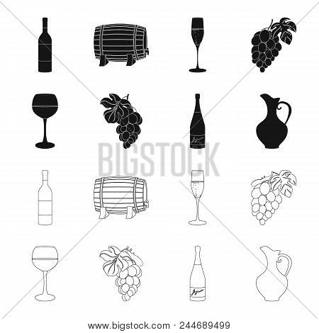 A Glass Of Red Wine, Champagne, A Jug Of Wine, A Bunch. Wine Production Set Collection Icons In Blac