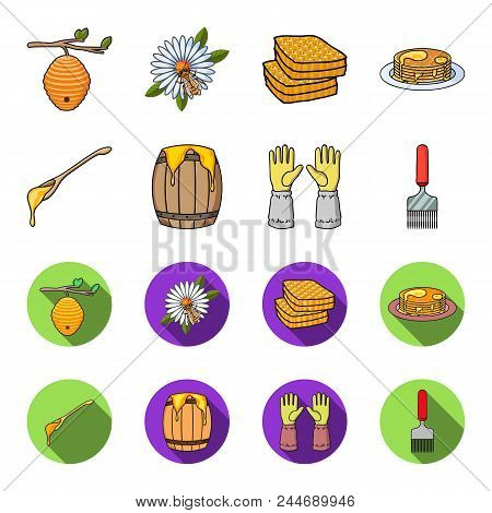 A Spoon Of Honey, Protective Gloves, A Barrel Of Honey, A Fork.apiary Set Collection Icons In Cartoo