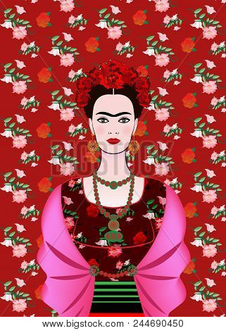 Frida Kahlo Vector Portrait,  Mexican Woman With A Traditional Hairstyle. Mexican Crafts Jewelry And