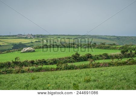 Landscape Of The Green Rural Cornish Hillside Fields, Cornwall, England, Uk