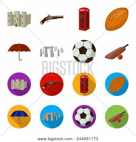 Umbrella, Stone, Ball, Cricket .england Country Set Collection Icons In Cartoon, Flat Style Vector S