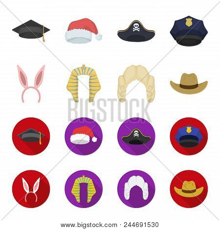 Rabbit Ears, Judge Wig, Cowboy. Hats Set Collection Icons In Cartoon, Flat Style Vector Symbol Stock