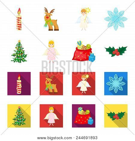 Christmas Tree, Angel, Gifts And Holly Cartoon, Flat Icons In Set Collection For Design. Christmas V