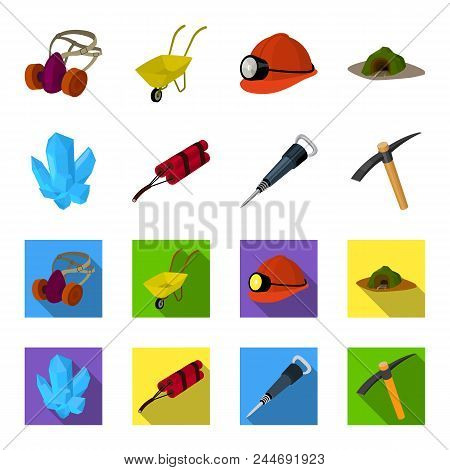 Minerals, Explosives, Jackhammer, Pickaxe.mining Industry Set Collection Icons In Cartoon, Flat Styl