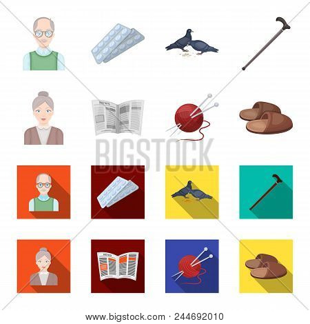 An Elderly Woman, Slippers, A Newspaper, Knitting.old Age Set Collection Icons In Cartoon, Flat Styl