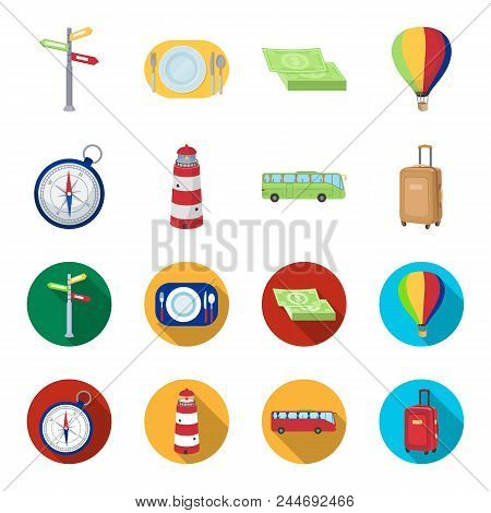 Vacation, Travel, Lighthouse, Compass .rest And Travel Set Collection Icons In Cartoon, Flat Style V
