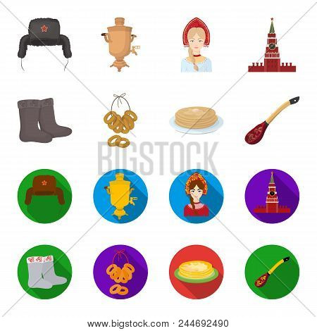 Felt, Boots, Drying, Gingerbread .russia Country Set Collection Icons In Cartoon, Flat Style Vector