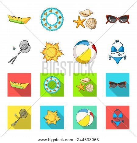A Game Of Badminton, A Ball And The Sun.summer Vacation Set Collection Icons In Cartoon, Flat Style