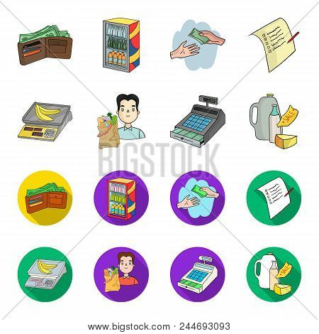 Package, Scales, Banana, Fruit .supermarket Set Collection Icons In Cartoon, Flat Style Vector Symbo