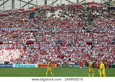 Marseille, France - June 21, 2016: Tribunes Of Stade Velodrome With Polish Supporters During Uefa Eu