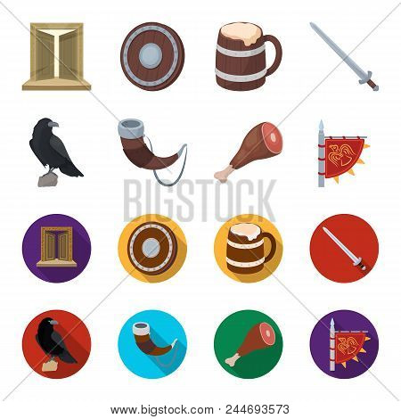Sitting Crow, Horn With Drink, Ham, Victory Flag. Vikings Set Collection Icons In Cartoon, Flat Styl
