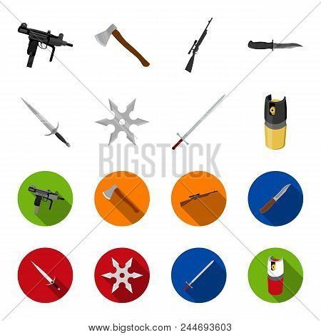 Sword, Two-handed Sword, Gas Balloon, Shuriken. Weapons Set Collection Icons In Cartoon, Flat Style