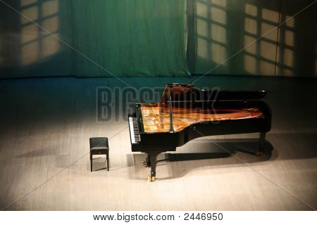Piano On Scene In Concert Hall