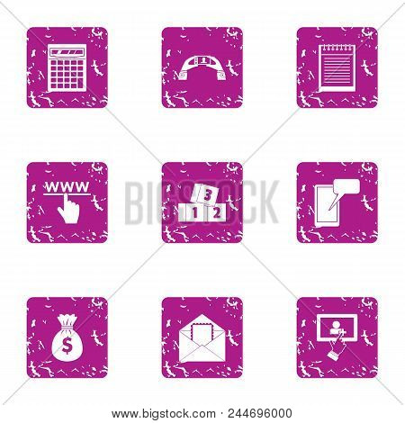Handbag Of Cash Icons Set. Grunge Set Of 9 Handbag Of Cash Vector Icons For Web Isolated On White Ba