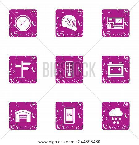 Complex Icons Set. Grunge Set Of 9 Complex Vector Icons For Web Isolated On White Background