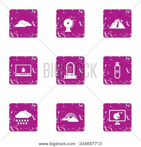 Caution Icons Set. Grunge Set Of 9 Caution Vector Icons For Web Isolated On White Background