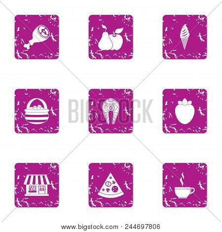 Meat Lunch Icons Set. Grunge Set Of 9 Meat Lunch Vector Icons For Web Isolated On White Background