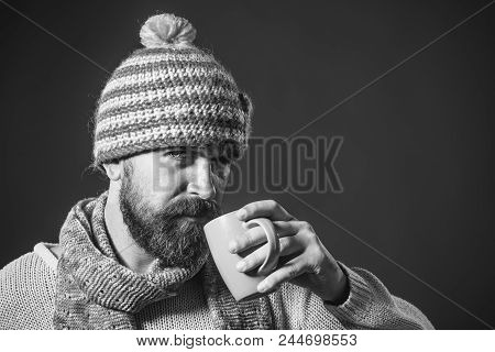 Coffee To Go In Morning. Serious Bearded Man In Winter Clothes Enjoying Coffee Break. Fashionable Be