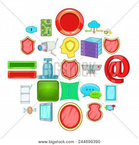 Encoding Icons Set. Cartoon Set Of 25 Encoding Vector Icons For Web Isolated On White Background