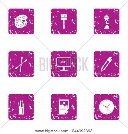 Paint Material Icons Set. Grunge Set Of 9 Paint Material Vector Icons For Web Isolated On White Back