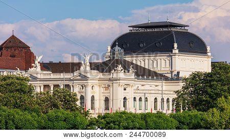 Zurich, Switzerland - May 11, 2018: Upper Part Of The Zurich Opera House Building. Zurich Opera Hous