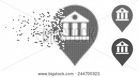 Grey Vector Bank Marker Icon In Dissolved, Dotted Halftone And Undamaged Whole Versions. Disappearin
