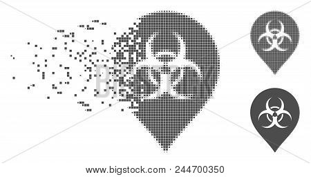 Gray Vector Biohazard Marker Icon In Fractured, Pixelated Halftone And Undamaged Solid Variants. Dis