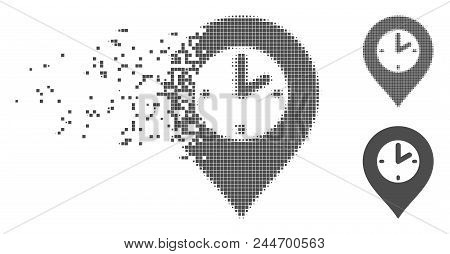Gray Vector Clock Marker Icon In Fractured, Dotted Halftone And Undamaged Solid Variants. Disintegra
