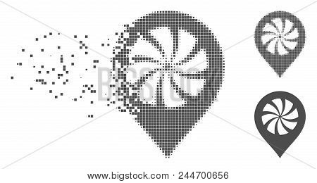 Gray Vector Cooler Fan Marker Icon In Dissolved, Dotted Halftone And Undamaged Whole Variants. Disap