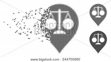 Gray Vector Court Map Marker Icon In Dissolved, Dotted Halftone And Undamaged Whole Versions. Disapp