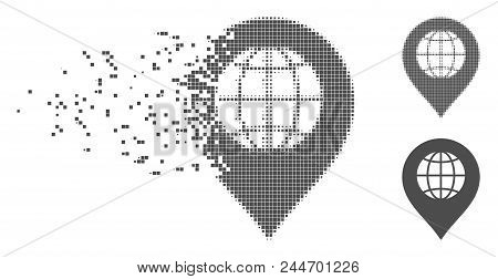 Gray Vector Globe Marker Icon In Dispersed, Pixelated Halftone And Undamaged Whole Variants. Disappe