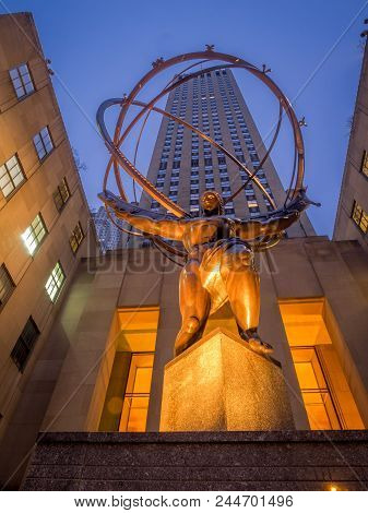 New York, New York - March 29, 2018: Details of the Atlas statue at Rockefeller Center. The Rockefel