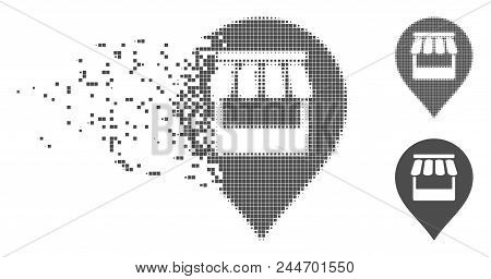 Gray Vector Market Marker Icon In Fractured, Dotted Halftone And Undamaged Entire Versions. Disappea