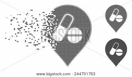 Grey Vector Pharmacy Marker Icon In Fractured, Pixelated Halftone And Undamaged Solid Variants. Disa