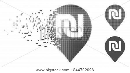 Gray Vector Shekel Map Marker Icon In Dispersed, Dotted Halftone And Undamaged Solid Variants. Disin