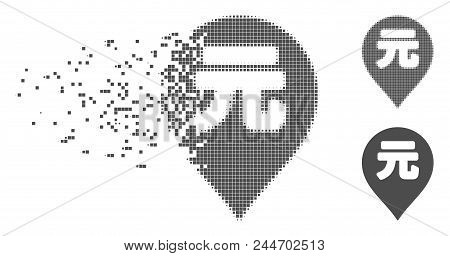 Gray Vector Yuan Renminbi Marker Icon In Dissolved, Dotted Halftone And Undamaged Whole Versions. Di