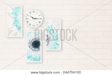 Closeup Surface A Wall Clock Show The Time In Quarter Past Ten O'clock With Flower Photo In Frame Fo