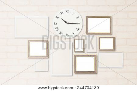 Closeup Surface A Wall Clock Show The Time In A Quarter Past Ten O'clock With Blank Frame For Decora
